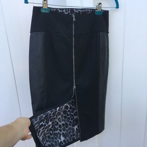 Express faux-leather pencil skirt leopard lining
